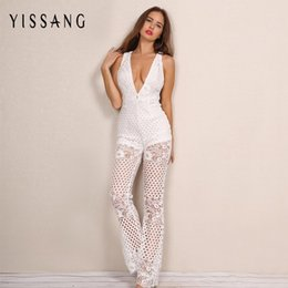30b21b4e3750 Yissang Lace Jumpsuit Long Pants Women Rompers Sexy Club Ladies 2017 V Neck Cut  Out Black Solid Elegant Female Jumpsuit Overalls