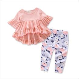 Floral Print Shirts Baby Australia - Baby Girl Clothes Set Fashion Pink Tops Pants Suits Ruffle Sleeved Shirts Dress Floral Print Pants Outfits 2 Pcs Set Kids Clothing YL318