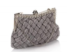 $enCountryForm.capitalKeyWord UK - Fashion High Quality Knitting Evening Bags Vintage Women Weave Day Clutches Wedding Long Chain Party Bags Banquet Handbags and Purses