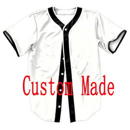 Dropshipping Custom Made VIP Designs Hombres Botones 3D Shirt Streetwear Tees Camisetas Hip Hop Baseball Jersey Tops