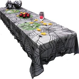 China Fashion Halloween Tablecloth Black Ghosts Good Quality Lace Tablecloth Spider Bats Easy To Use Resistance To Fall 18pc dd supplier bats lace suppliers