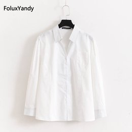 Discount plus size button down blouses - Office Lady Shirts Plus Size 3 4 XL Women Turn-down Collar Stretched Slim Long Sleeve Blouse Shirt Blue White KKFY1356