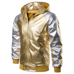 metallic gold spandex UK - Gold Sliver Patchwork Hoode Mens Jacket Nightclub Metallic Gold Shiny Jackets Men Veste Homme Slim Lightweight Varsity Bomber Jacket