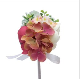 flower gift boxes wholesale NZ - Peony Hydrangea Bridal brooch ribbon flower Decorative gift box simulation flowers
