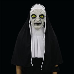 Wholesale nun cosplay for sale – halloween 2018 The Nun Valak Mask Cosplay Conjuring Scary Halloween Full Head Horror Mask Theme Props Balls