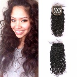 Best cheap virgin Brazilian hair online shopping - Peruvian Brazilian Cheap x5 Water Wave Lace Closure Virgin Human Hair inch Best Selling Products G EASY