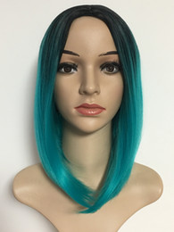 mei cosplay NZ - Xiu Zhi Mei 2 Tone Ombre Blue Color Bob Hair Short Synthetic Wigs For Black Women High Density Heat Temperature Full Cosplay Hair Wig