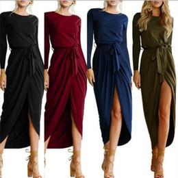 $enCountryForm.capitalKeyWord Canada - Sexy Summer Dress Lady Outfit High Split Casual Long Maxi Dress Long sleeve dress Solid Women's Retro Dresses With Belt Vestidos Plus size