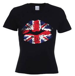 b2fd9b40e62b7 UNION JACK LIPS WOMEN'S T-SHIRT - United Kingdom England Flag Holiday UK GB