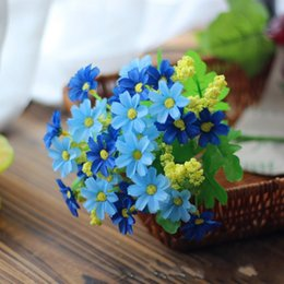 Flower rods online shopping - Modern Colorful Simulation Flower Plastic Sighting Rod Bouquet Heads Artificial Marguerites Flowers New Arrival ct B