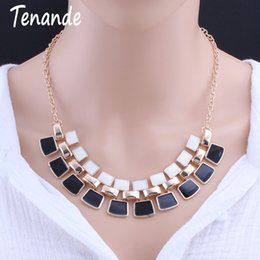 gold pendant pattern 2019 - Tenande Big Statement Alloy Geometric Patterns Rectangle Necklaces Pendants for Women Party Jewelry Simple Style Gold Co