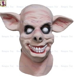 Discount pig costumes - 1PC Saw Pig Head Scary Masks Novelty Halloween Mask With Hair Halloween Mask Caveira Cosplay Costume Latex Festival Supp