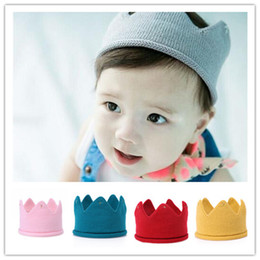 $enCountryForm.capitalKeyWord Australia - Baby Knit Crown Tiara Kids Infant Crochet Headband cap hat birthday party Photography props Beanie Bonnet 5color B11