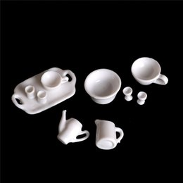 Doll Kitchen Set NZ - 10pcs set Cups Plates Tableware Set Dollhouse Decor Kitchen Classic Toy Pretend Play Girl Gift For Doll Accessiores