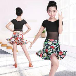 $enCountryForm.capitalKeyWord NZ - Girls Printing Latin Dance Dress Children Teenager Salsa Rumba Latin Dance Skirt Suit Kids Leotard With Skirt Sets