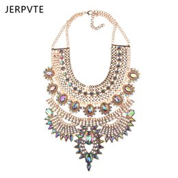 designing women costumes 2019 - wholesale New design Crystal chain necklace wholesale women fashion jewelry costume metal chain chunky statement necklac
