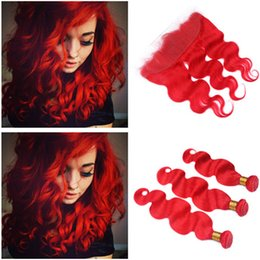 $enCountryForm.capitalKeyWord Australia - Colored Red Malaysian Body Wave Human Hair Bundles Deals with Full Lace Frontal Pure Red Virgin Hair Weaves with 13x4 Lace Frontal Closure