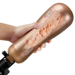 Hands Free Male Toys NZ - SEXE Rechargeable Hands Free Male Masturbator With Strong Suction Cup Artificial Vagina Real Pussy Sex Toys for Men Sex Products