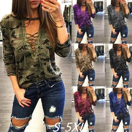 Discount ribbon xl - 5XL 6 COLOR Women Camouflage Deep V Neck Lace Up Halter Top Shirt Sexy Shirts Ladies Loose Bandage Camo Tee Tracksuit Fe