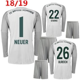 2fa34f960 Goalkeepers uniform online shopping - 2018 Adults Long Sleeve Neuer  Goalkeeper Jersey Home Grey Soccer Sets