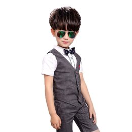 tuxedos for kids Australia - Brand Boys Dot Vest Suit for Wedding Children Summer Formal Vest+Shorts Tuxedos Clothing Set for Baby Boys Kids Costume N29
