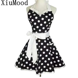 $enCountryForm.capitalKeyWord Canada - XiuMood Retro Cute Sexy Waiter Apron Dress With Pocket Cotton White Lace Black Polka Dot Kitchen Chef Cooking Aprons For Woman