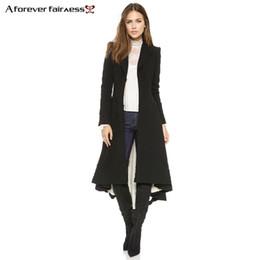 f877e04ca53718 A Forever Autunno Cappotti donna Stile europeo Manica lunga Casual Trench  lunghi Maxi coda di rondine Moda Slim Nero Outwear C18110901