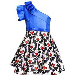 Baby Girl Tutu Dress Love UK - baby girl dresses kids halloween costumes Off Shoulder Printed Love Hearts Girls princess dress TuTu Party Dress Elegant Ruffled Collar