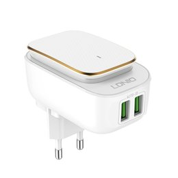 China LDNIO 5V 2.4A Dual USB Wall Charger With LED Touch Light For Samsung For iPhone With Cable US EU UK AU Plug suppliers