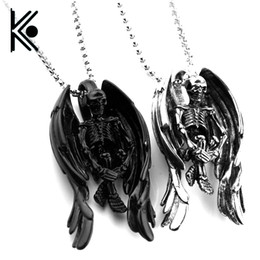 Wholesale Led Jewelry NZ - High quality Skeleton Skull Wings Style Religious jewelry amulet Pagan Wiccan Talisman Church of Satan Charm Lead Free