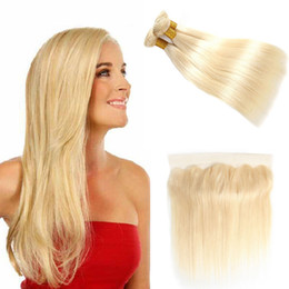 brazilian platinum blonde hair extensions 2019 - 613 Platinum Blonde Bundles Brazilian Straight Virgin Human Hair Weave Extensions With 13x4 Ear To Ear Lace Frontal Clos
