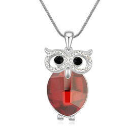 Chinese  Fashion Jewelry Women Crystal from Swarovski Elements Sweater Chain Long Necklace Owl Pendants White Gold Plated 14731 manufacturers