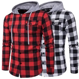 Women's Clothing 2018 Summer New Women Casual Loose Slim Color Hooded Plaid Shirt
