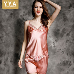 52370822f5 Summer Nightie Night Suit Embroidery Satin Pajamas Shorts Sleepwear Pijama  Feminino Sexy V-Neck Home Clothes For Women 100% Silk