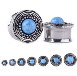 $enCountryForm.capitalKeyWord NZ - 1 Pair 8-20mm Steel Ear Plugs Tunnels Blue Opal Stone Piercing Ear Plugs Earring Gauges Ear Expanders Rings Fashion Body Jewelry