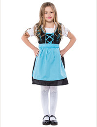 Chinese  children girl blue alice in wonderland halloween costume for kids party lolita maid dress cosplay Fancy carnival costumes girls PS073 manufacturers