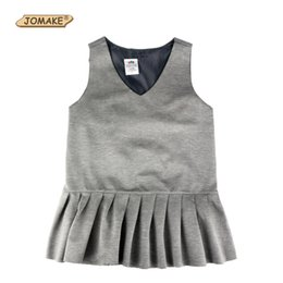school shorts girls UK - Girls Dress Spring Autumn Preppy Style Solid V-Neck Sleeveless Dress Girl Ruched Children Princess Dress School Girls Clothes