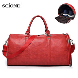 30f2b288bd37 Men s PU Leather Gym Bag Male Big Sports Bags Handbags For Fitness Men  Women Training Shoulder Shoes Travel Sac De Sport XA538WA