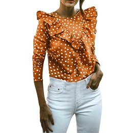 Chinese  Womens Tops and Blouses 2018 Feminina Vintage Polka Dot Ruffle Long Sleeve Shirts Tunic Backless Clothes Woman Ladies Top manufacturers