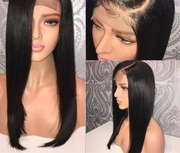 Top Curly Human Hair Wigs Australia - Lace Front Human Hair Wigs Straight Natural Color Brazilian Remy Hair Wigs For Black Women 130% Silk Base Top Lace Front Wig