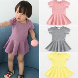 Wholesale swing color for sale – plus size Baby Girls Solid Dress Design Brief Candy Color Short Sleeve Cotton Flounces Swing Dress Kids Designer Clothes Girls Dresses Outfits M1405