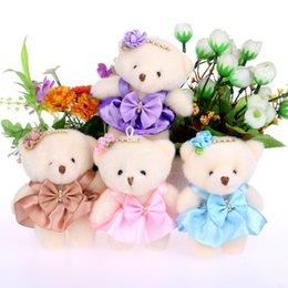 Vente en gros Pour le cadeau de Noël 12CM 10pcs / lot coton coton kid jouets en peluche poupée mini petit ours en peluche bouquets de fleurs portent pour la maison de mariage poupée
