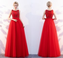 Chinese  2018 New Red Elegant Formal Evening Dresses Dignified Atmosphere Round lace Bud Beads A Party Qi Prom Eance Dresses HY101 manufacturers