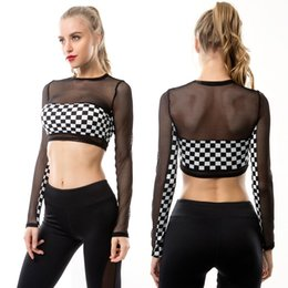 $enCountryForm.capitalKeyWord Australia - Black&White Plaid See-through long-sleeved T-shirt Tight-fitting Uncovered Midriff Gauze Piecing Sportswear Tops