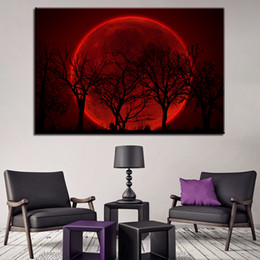 $enCountryForm.capitalKeyWord NZ - Home Decor Canvas HD Print Pictures Wall Art 1 Piece Pcs Red Moon Night Psychedelic Forest Painting For Living Room Trees Poster