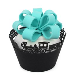 $enCountryForm.capitalKeyWord UK - wholesale 120pcs Train Choochoo Cupcake Wrappers Muffin Wrap Paper Stand For Christmas Wedding Birthday Party Home Decoration Black