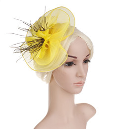 Yellow flower stick online shopping - Women s Headband Party Hair Accessories Bridal Headwear Yarn dyed Flower Feathers High end Temperament Bridal Wedding hair accessories