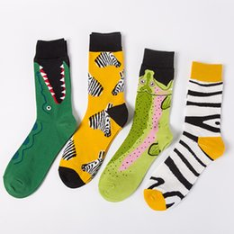 Colorful Cotton Socks Australia - New Funny Colorful Cotton Men Crew Socks Crocodile Striped Pattern British Style Casual Harajuku Designer Brand Novelty Fucky