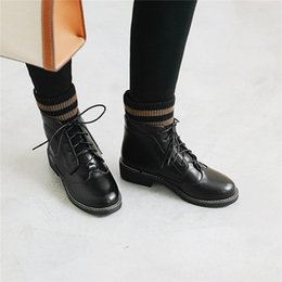 womens low socks Canada - wholesale 2018 Autumn Striped Knitting Sock Ankle Military Combat Boots Womens Ladies Lace Up Punk Low Block Heel Shoes Plus Size