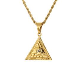 $enCountryForm.capitalKeyWord NZ - Man Hip Hop Stainless Steel Geometric Eye Pendant Necklace Fashion Rhinestone Design Gold Color Chain Punk Hippie Men Necklace For Men